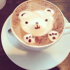 Teddy bear coffee! From Fig & Olive NYC