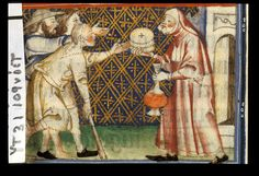 Yates Thompson 31 f. 110v Feeding the hungry and giving drink to the thirsty