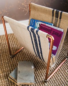 Copper Pipe Magazine Stand - http://www.sweetpaulmag.com/crafts/copper-pipe-magazine-stand #sweetpaul