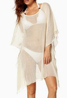 Stylish Women's Scoop Neck Dolman Sleeve Bikini Cover Color: OFF-WHITE Size: ONE SIZE Category: Women > Swimwear   Gender: For Women  Material: Polyester  Pattern Type: Solid  Swimwear Type: Cover-Up  Waist: Natural  #wholesalecheapbathingsuits #wholesalebathingsuits #cheapbathingsuits #bathingsuits #bridgat.com