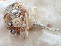 Bridal Brooch Bouquet Champagne Brooch Bouquet with by VioGemini, $380.00