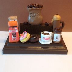 Polymer+clay+coffee+business+card+holder,Dunkin+Donut+inspired+card+holder,coffee+shop,+by+NaomisSweetStuff+on+Etsy