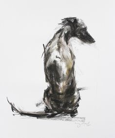 SOLD - Whippet Sitting pastel sketch 2
