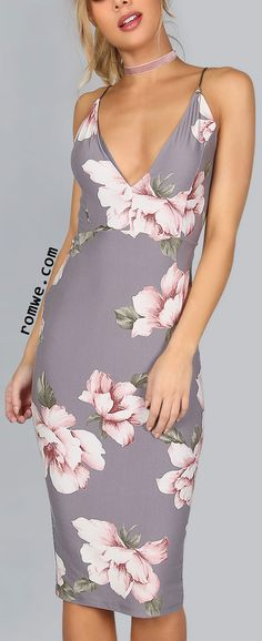 Plunge V Neckline Floral Backless Knee Length Dress