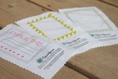 Design Your Own Quilt Labels... Awesome... for when I get good enough for giving the quilts to others! Quilt Labels, Fabric Labels, Quilting Tips, Quilting Designs, Quilting Projects, Stamped Business Cards, Sewing Labels, Signature Quilts, Tags