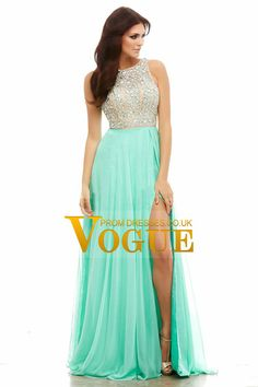 2015 Tow-Tone Bateau Open Back Prom Dresses A-Line Beaded Bodice With Slit Chiffon