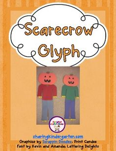 """scarecrow glyph (for Fall or  with """"The Little Old Lady Who Was Not Afraid of Anything"""" book)"""
