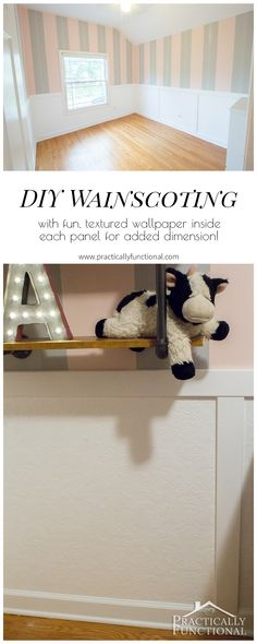 They put textured wallpaper inside the panels of this simple DIY wainscoting in order to add dimension to the walls, brilliant!