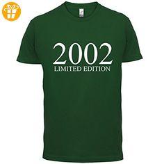 2002 Limierte Auflage / Limited Edition - 15. Geburtstag - Herren T-Shirt - Flaschengrün - L (*Partner-Link)