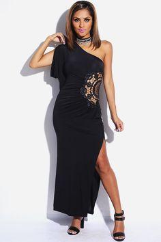 #1015store.com #fashion #style black lace inset draped one shoulder high slit maxi evening dress-$30.00
