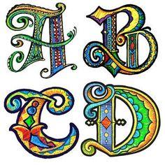 Art du Jour by Martha Lever: Versal Doodles - art lettering - Doodle Lettering, Creative Lettering, Lettering Styles, Hand Lettering, Lettering Ideas, Stylo Art, Fancy Letters, Book Of Kells, Calligraphy Letters