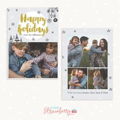Holiday card template Christmas photo cards 5 by StudioStrawberry