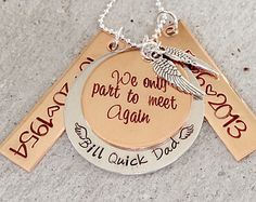 We Only Part to Meet Again - Personalized Memorial Necklace - Hand Stamped Necklace - Remembrance Jewelry - Memorial Jewelry - Memorial Gift
