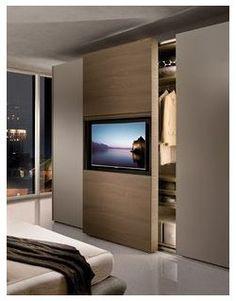 Bedroom Tv Stand, Bedroom Tv Wall, Bedroom Closet Design, Bedroom Storage, Home Decor Bedroom, Bedroom Ideas, Bedroom Designs, Bedroom Inspiration, Bedroom Curtains