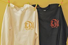 Glitter heat transfer monograms to add to your own shirt!! All you need is an iron, how perfect?!