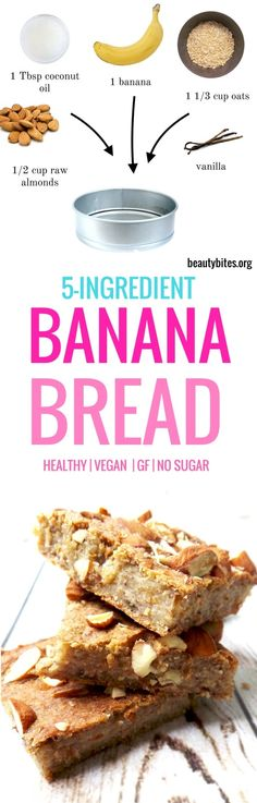 Healthy banana bread - vegan and flourless. This healthy snack is easy & just 5 ingredients to make its also good for a healthy meal prep as it keeps well in the fridge for up to 5 days. Healthy Vegan Breakfast, Healthy Meal Prep, Healthy Snacks For Kids, Vegan Snacks, Healthy Desserts, Healthy Eating, Clean Eating, Vegan Banana Bread, Easy Banana Bread