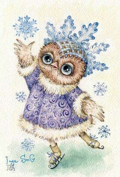 Winter Owl~ by Inga Sm G . Owl Graphic, Owl Artwork, Whimsical Owl, Paper Owls, Owl Cartoon, Owl Pictures, Christmas Bird, Owl Always Love You, Wise Owl