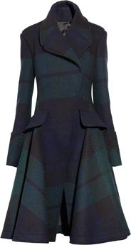 Navy, black and dark-green Black Watch plaid heavyweight mohair-blend  Epaulettes, flap pockets, flared skirt, raw hem, fully lined  Concealed asymmetric button fastenings at front  50% mohair, 30% fleece, 20% polyamide
