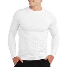 Starter Big Men's Long Sleeve Fitted Base Layer Tee, Size: 2XL, White