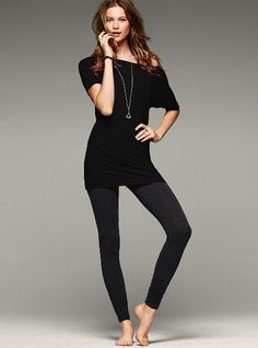 Off-the-shoulder Tunic - Victoria's Secret (for leggings) Tunic Leggings, Black Leggings, Off The Shoulder Tunic, Barefoot Girls, Dress Me Up, Supermodels, Going Out, Sportswear, My Style