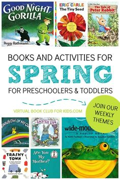 Spring Books and Spring Themes for the Virtual Book Club for Kids. Check out our Children's Book List and themed Activities for Preschoolers and Toddlers Preschool Learning, Toddler Preschool, Preschool Activities, Preschool Books, Preschool Programs, Teaching Kindergarten, Best Children Books, Toddler Books, Book Club Books