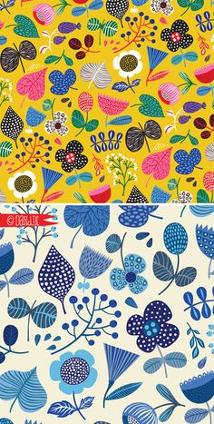 A nice contrast to a scene that& taking place outside my window. Wanted to do something bright and cheerful to outweigh the winter bl. Scandinavian Pattern, Scandinavian Art, Art Floral, Surface Pattern Design, Pattern Art, Textile Patterns, Print Patterns, Pattern Illustration, Magazine Illustration