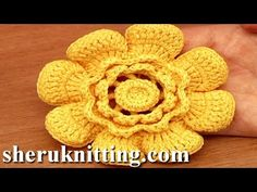 Crochet Flower With Cupped Petals Tutorial 95 - YouTube