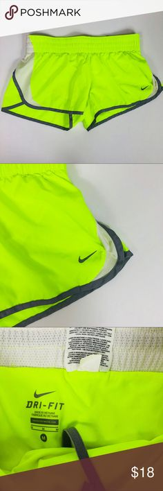 Nike Dri Fit Neon Highlighter Yellow Green Shorts Tempo shorts with attached underwear inside. Excellent condition.  Size Medium Nike Shorts