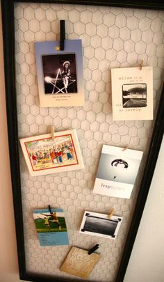 Chicken wire to hold pictures. Burn edges of pictures to be old and antiquey looking
