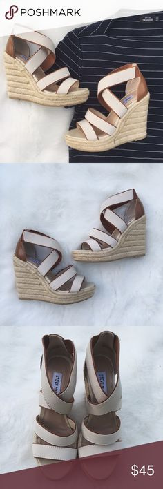 {NWOT} •Steve Madden Cream Strappy Wedges• Steve Madden Cream Colored Wedges never worn. They come new without the box,   But will ship properly.  There is one minor stain pictured in the 4th photo.   →Size:6.5 →Strappy Wedges →No trades(comments will politely be ignored). →15% off 2+ items  Steve Madden Shoes Wedges