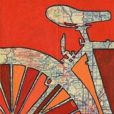 Old road maps are used as canvases for these bright, graphic pieces of art! Bike Art by Off the Map. via MyPaisleyWorld.blogspot.com