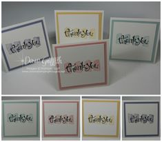 handmade notecard set ... Dawn's May Thank you notes #2 ... cute 3X3 format ... mat and background ink match in each one ... quick and easy ... Stampin'Up!