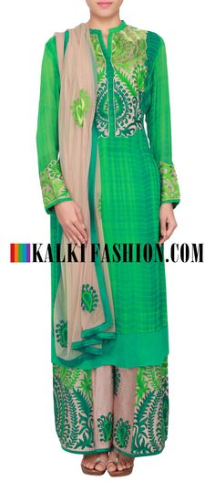 Buy Online from the link below. We ship worldwide (Free Shipping over US$100) http://www.kalkifashion.com/green-batik-dye-straight-fit-suit-embellished-in-resham-embroidery-only-on-kalki.html