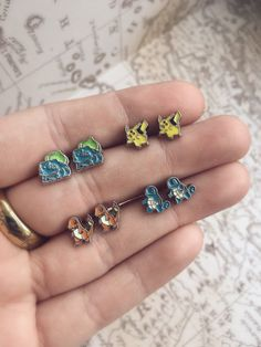 Original Starters Set, Gotta Catch 'Em All // Pokemon Earrings, Pokemon Jewelry, Enameled Silver Geekery (Bulbasaur, Charmander, Squirtle, Pikachu) by MoonKittyCreations03