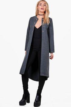Freya Eyelet Detail Wool Look Coat Plastic Raincoat, Hooded Raincoat, Raincoats For Women, Padded Jacket, Boohoo, Duster Coat, Nordstrom, Sporty, Wool