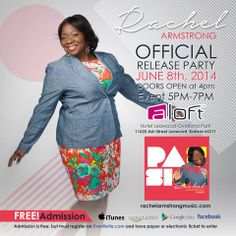 """An open invitation to a free event of my new friend, singer, songwriter, & Rachel Armstrong: """"Hey, Fam! What are you doing June 8 between 4 and 7 p.m? If you have no plans, come on out and join me at the Aloft hotels in Leawood, Kansas for a wonderful time of fellowship at the """"Passion"""" CD release. Details in the flyer. Don't forget to register at the Eventbrite link. Hope to see you there...God bless!!"""" ~  http://www.eventbrite.com/e/rachel-armstrong-album-release-party-tickets-11424323459"""