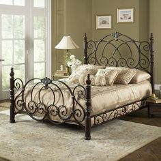 Strathmore Iron Bed With a Lovely Vintage Spice Finish And an Ornately Classic Scroll Work Design Available in King Queen Cal King Sizes