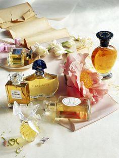 "Nice collection of classic perfumes! I see Femme Rochas, Chanel No 5, Jean Patou ""Joy"" Guerlain ""Shalimar"", Nina Ricci ""L'air du Temps""....."