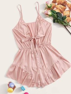 To find out about the Knot Front Ruffle Satin Romper Bodysuit at SHEIN, part of our latest Sexy Lingerie ready to shop online today! Jolie Lingerie, Sheer Lingerie, Lingerie Set, Slep Dress, Pop Fashion, Fashion News, Pijamas Women, Satin Cami Top, Ruffle Fabric