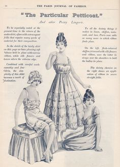WW1 lingerie, Paris Journal 1915-16, from the History Wardrobe collection