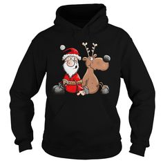 Happy Reindeer with Santa Claus