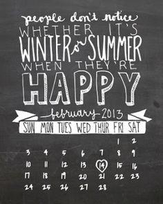 February Calendar Printable Freebie