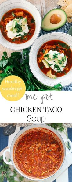 This super easy, bold and flavorful Chicken Taco Soup recipe is perfect for weeknight meals. It's a one pot wonder bursting with flavor. Chicken Taco Soup, One Pot Chicken, Chicken Soup Recipes, Chicken Flavors, Chicken Tacos, Healthy Weeknight Meals, Quick Meals, Paleo Recipes, Cooking Recipes