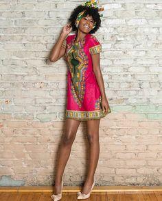 Dressing des 4 Saisons Concours Tunique Dashiki Giveaway Robe Trapèze Dress  pink rose Saisons a026801ee19
