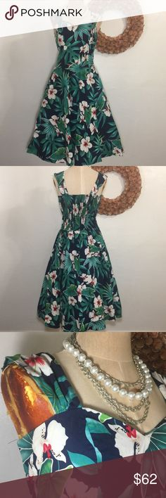 """Hawaiian Rockabilly Pinup Full Skirt Beach Dress All items photographed immediately prior to packing for shipping  16"""" underarm to underarm unstretched  13.5"""" across waist unstretched  18"""" stretched 21"""" across hips (with room for flounce) 30"""" hips to bottom  Button options for various strap length Dresses Midi"""