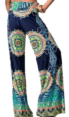 0d98f10fe4f63 Sugar Rock Women Paisley Palazzo Pants Fold-Over Waist Wide Leg and Laundry  Washing Bag