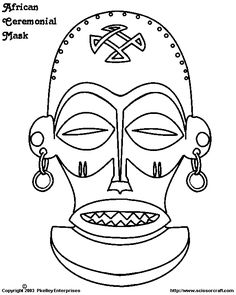 masker African Colors, African Theme, African Masks, Tiki Tattoo, Colouring Pages, Coloring Books, African Art Projects, Origami Shapes, Afrique Art
