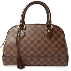 Louis Vuitton Women's Vintage Damier Ebene Duomo - Brown ($1,350) ❤ liked on Polyvore featuring bags, brown, louis vuitton bags, brown bag, hardware bag, brown leather bag and lock bag