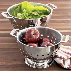 All-Clad Stainless-Steel Colanders /WilliamsSonoma Kitchen Tools And Gadgets, Kitchen Items, Kitchen Things, Kitchen Stuff, Kitchen Utensils, Cooking Utensils, Kitchen Must Haves, Kitchen Equipment, Kitchen Essentials