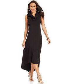 Karen Kane Cowl-Neck Sleeveless Maxi Dress